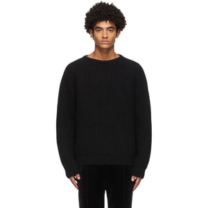 Haider Ackermann Black Wool Ribbed Sweater