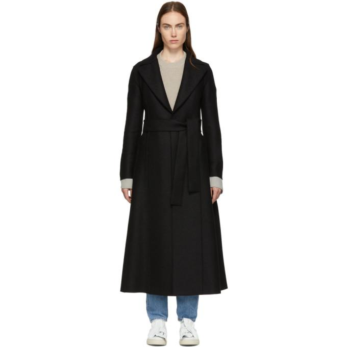 Harris Wharf London Black Pressed Wool Long Duster Coat-BlackSkinny