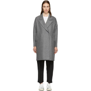 Harris Wharf London Grey Oversized Fitted Coat-BlackSkinny