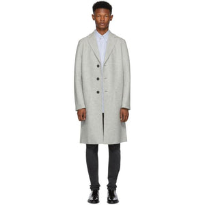 Harris Wharf London Grey Pressed Wool Overcoat-BlackSkinny