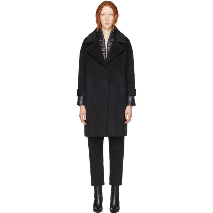 Herno Black Oversized Layered Coat-BlackSkinny