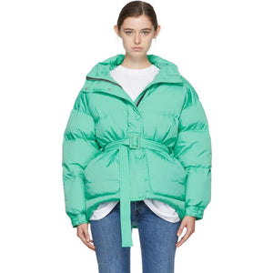 Ienki Ienki Green Down Michelin Belted Hooded Jacket-Jackets & Coats-BLACKSKINNY.COM
