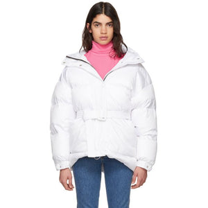 Ienki Ienki White Michlin Belted Down Puffer Jacket-Jackets & Coats-BLACKSKINNY.COM