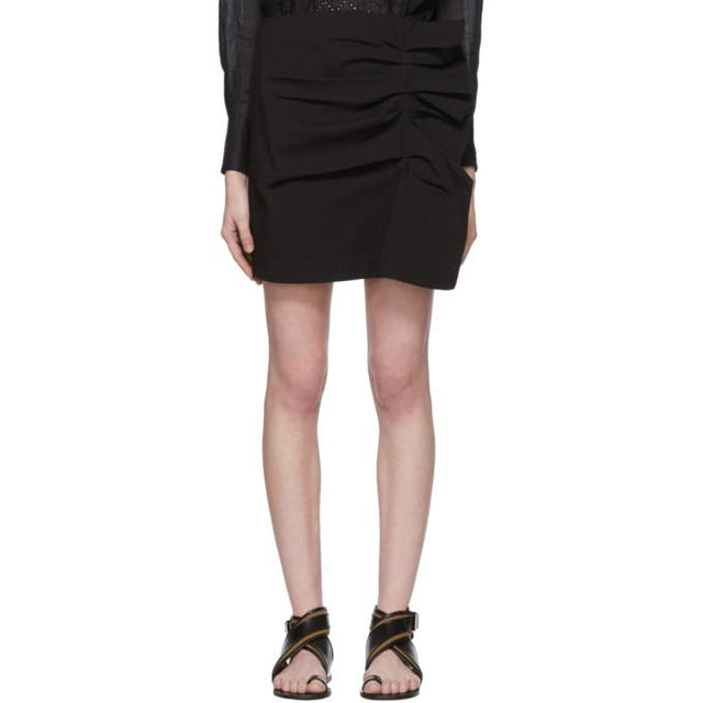 Isabel Marant Black Lefly New Stretch Cotton Skirt-BLACKSKINNY.COM
