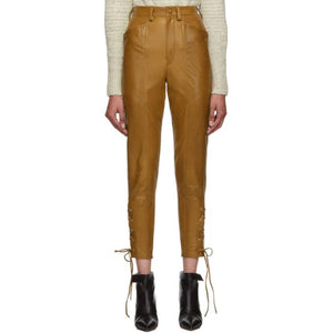 Isabel Marant Brown Leather Cadix Pants