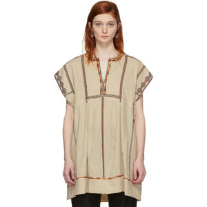 Isabel Marant Etoile Beige Embroidered Belissa Dress-BLACKSKINNY.COM