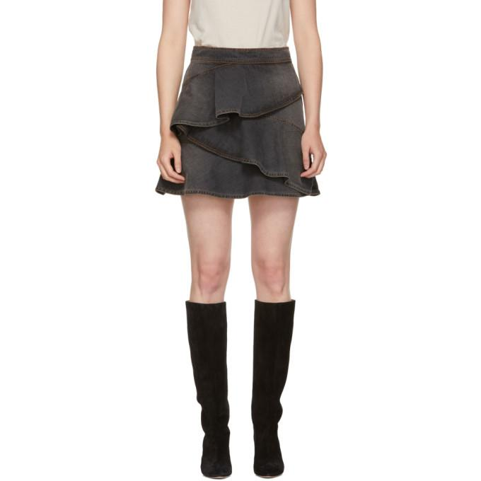 Isabel Marant Etoile Black Coati Denim Skirt-BLACKSKINNY.COM