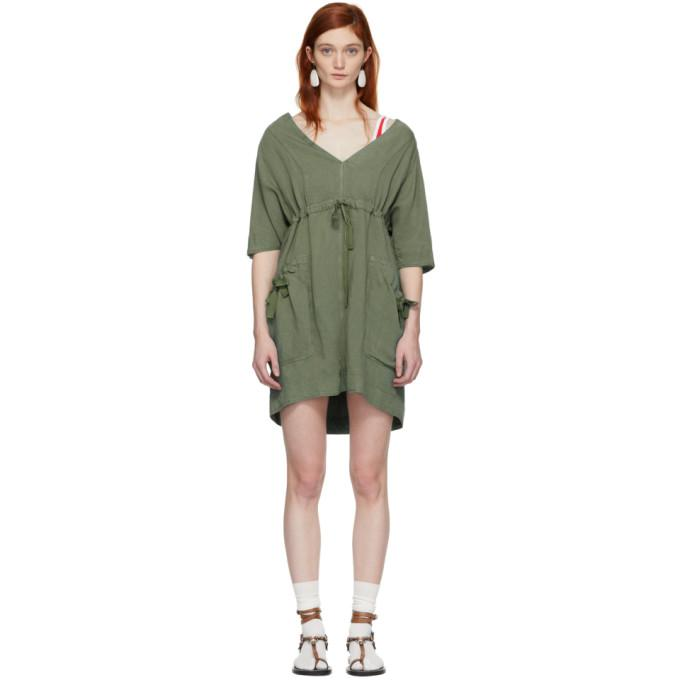 Isabel Marant Etoile Khaki New Flou Wendell Dress-BLACKSKINNY.COM