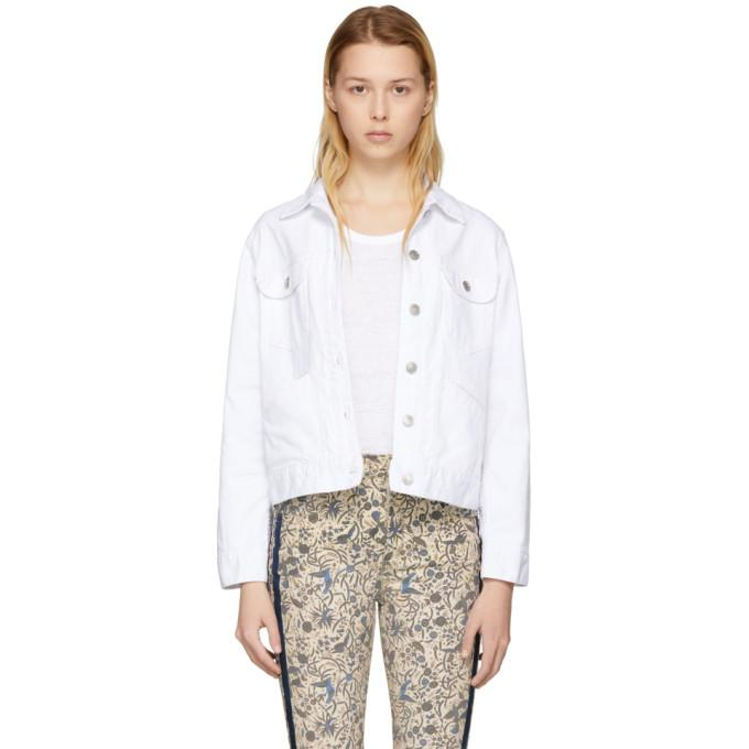 Isabel Marant Etoile White Denim Fofty Jacket-Jackets & Coats-BLACKSKINNY.COM