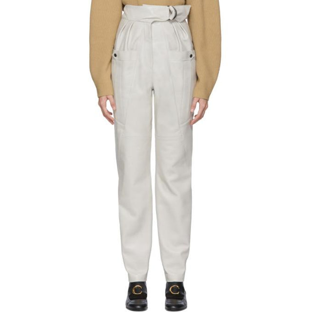 Isabel Marant White Leather Ferris Trousers