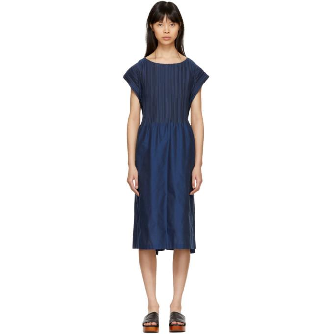 Issey Miyake Blue Frame Pleats Dress-BLACKSKINNY.COM