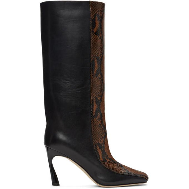 Jimmy Choo Black and Brown Snake Mobyn 85 Tall Boots