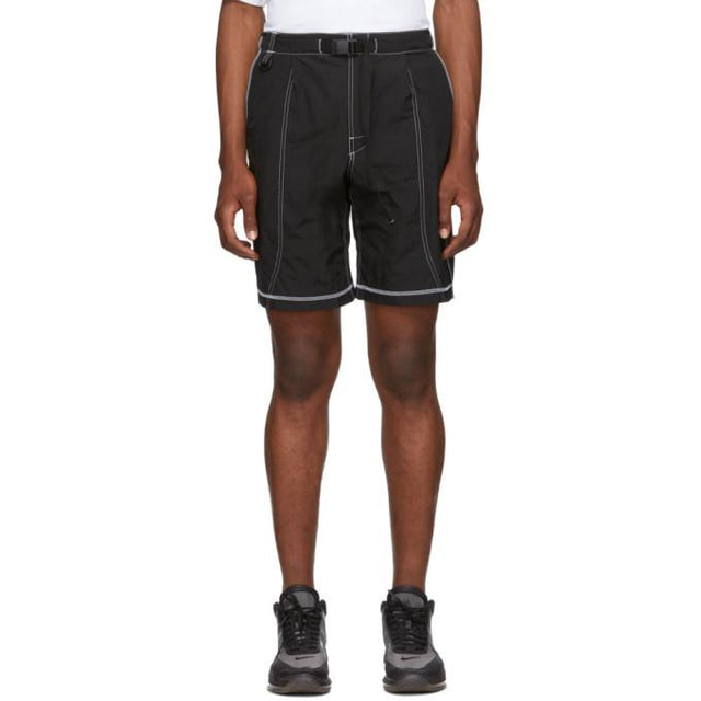 John Elliott Black High Shrunk Nylon Mountain Shorts