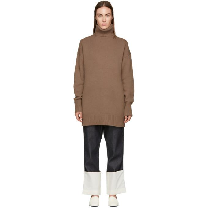 Joseph Brown Wool Oversized Turtleneck-BLACKSKINNY.COM