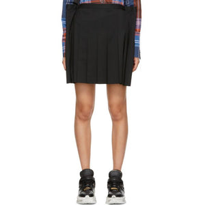 Junya Watanabe Black Extended Side Wool Skirt-BLACKSKINNY.COM