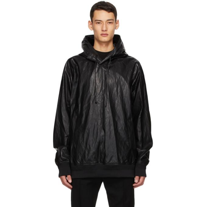 Juun.J Black Faux-Leather Hoodie