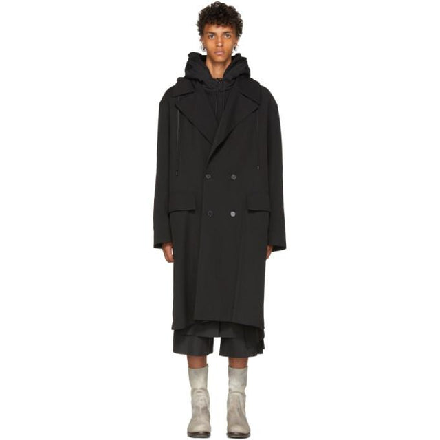 Juun.J Black Hooded Coat-BlackSkinny