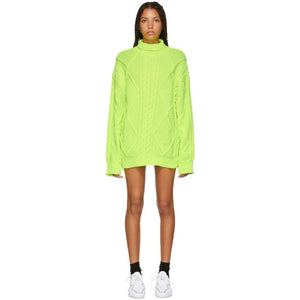Juun.J Yellow Cable Knit Turtleneck Dress-BLACKSKINNY.COM
