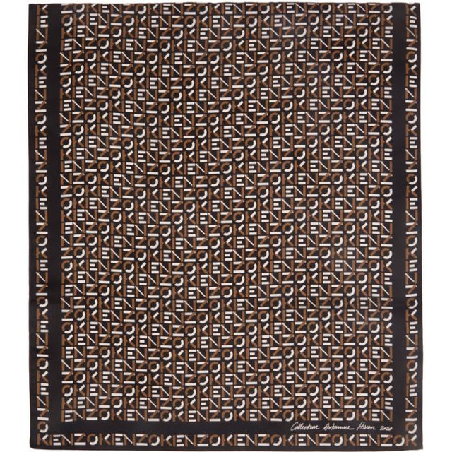 Kenzo Black and Brown Silk Monogram Scarf