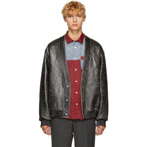 Kenzo Black Leather Cardigan Jacket-BlackSkinny