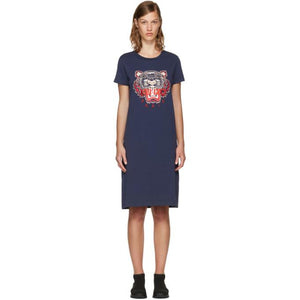 Kenzo Navy Limited Edition Tiger T-Shirt Dress-BLACKSKINNY.COM