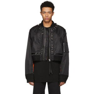 KTZ Black Stapled Metal Bomber Jacket-BlackSkinny