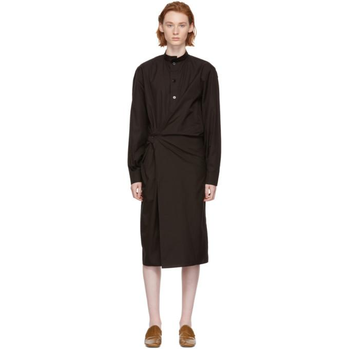 Lemaire Brown High Collar Twisted Dress-BLACKSKINNY.COM