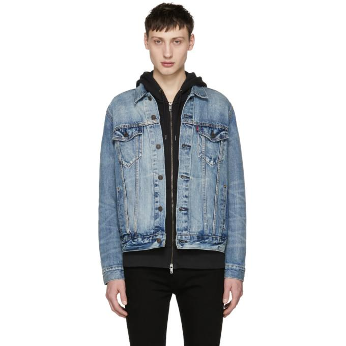 Levi's Blue Denim Trucker Jacket-BlackSkinny