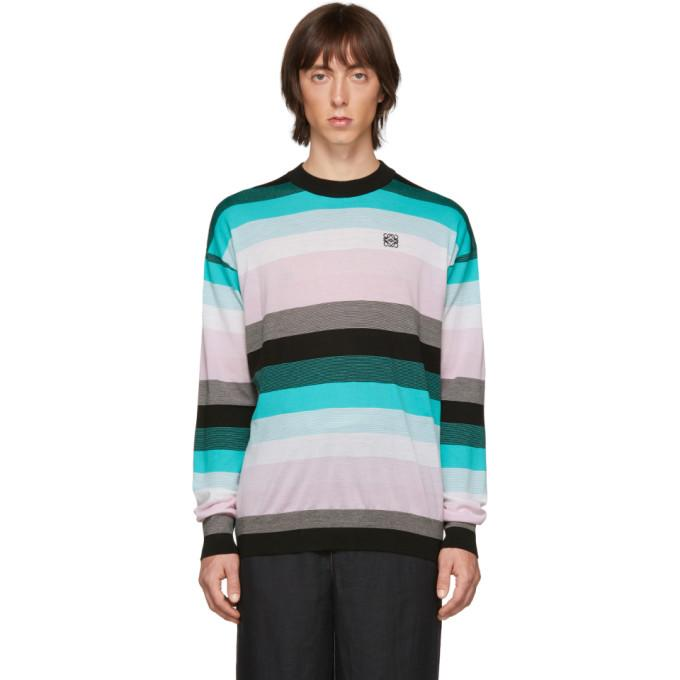 Loewe Blue Stripe Anagram Sweater