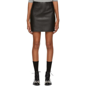 Mackage Black Leather Alva Miniskirt-BLACKSKINNY.COM