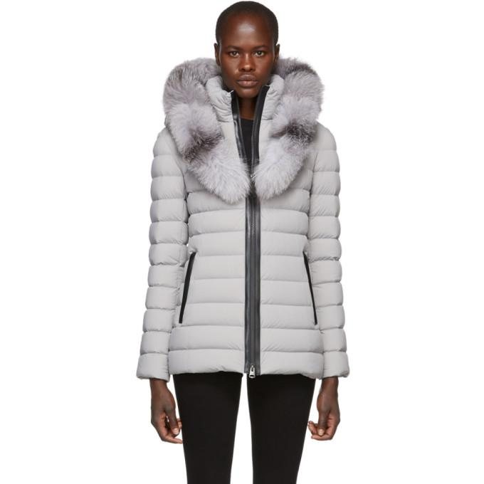 Mackage Grey Kadalina-X Lightweight Down Jacket-BlackSkinny