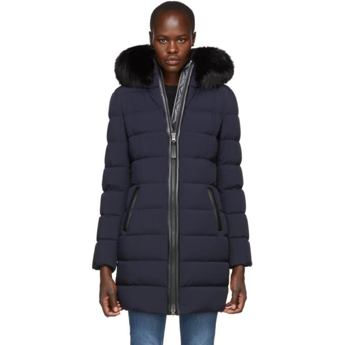 Mackage Navy Calla Matte Lightweight Down Coat-BlackSkinny