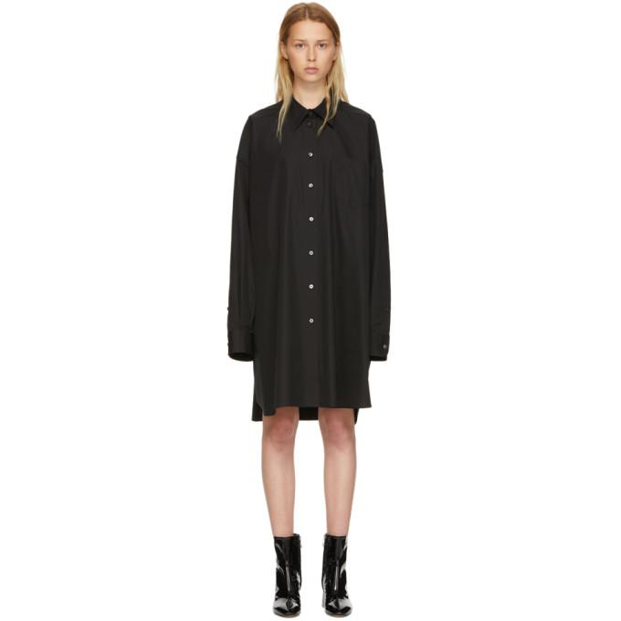 Maison Margiela Black Poplin Shirt Dress-BLACKSKINNY.COM