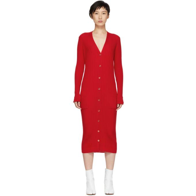Maison Margiela Red Ribbed Dress-BLACKSKINNY.COM
