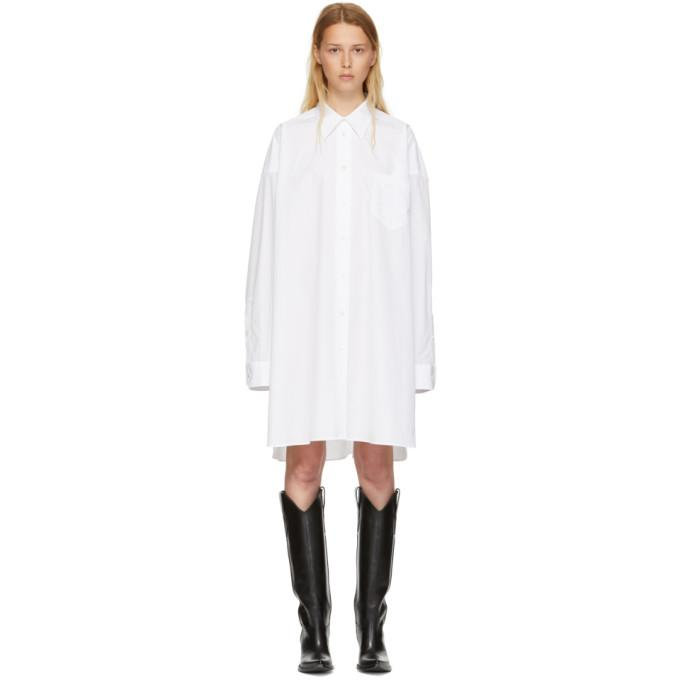 Maison Margiela White Poplin Shirt Dress-BLACKSKINNY.COM