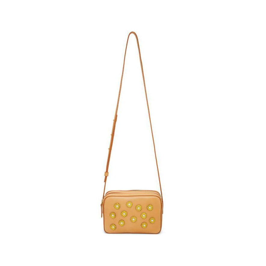 Mansur Gavriel Tan Floral Embellished Double Zip Crossbody Bag-Bags-BLACKSKINNY.COM