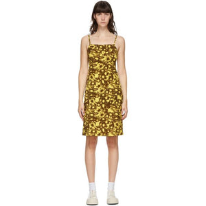 Marc Jacobs Yellow and Brown Heaven by Marc Jacobs Techno Floral Dress