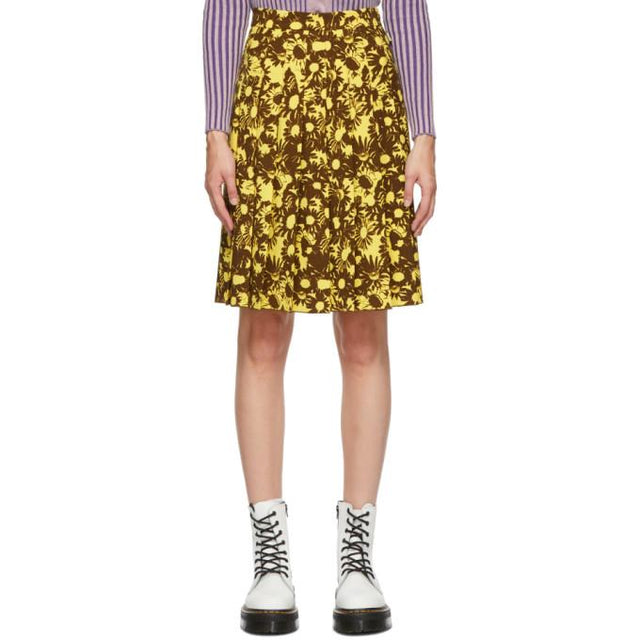 Marc Jacobs Yellow and Brown Heaven by Marc Jacobs Techno Skirt