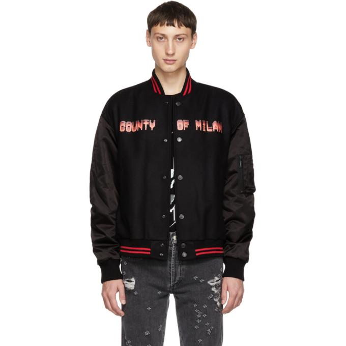 Marcelo Burlon County of Milan Black Never Sleep Bomber Jacket-BlackSkinny