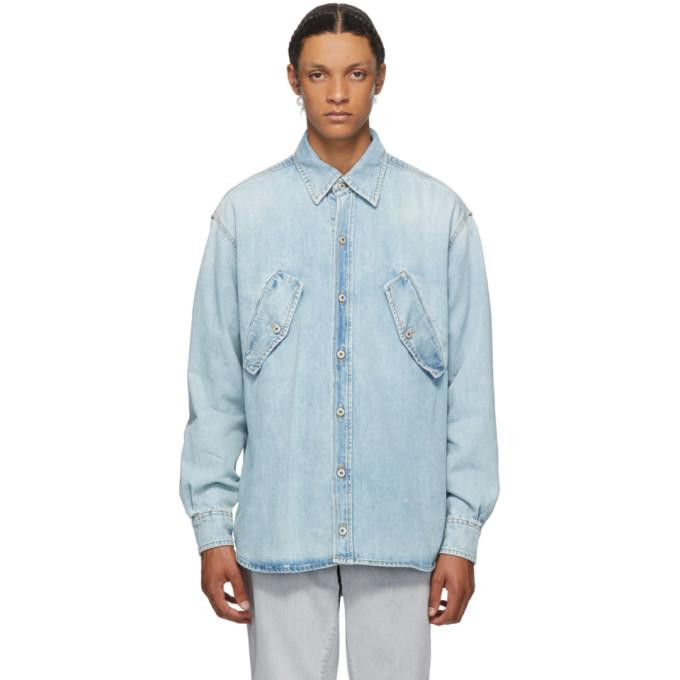Marcelo Burlon County of Milan Blue Denim Rural Cross Shirt