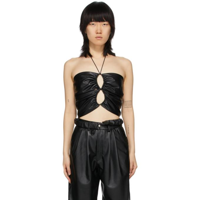 Markoo SSENSE Exclusive Black Faux-Leather The Double Loop Tank Top