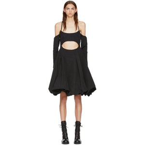 Marques Almeida Black Drill Cut-Out Puff Dress-BLACKSKINNY.COM