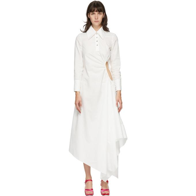 Marques Almeida SSENSE Exclusive White Gathered Shirt Dress