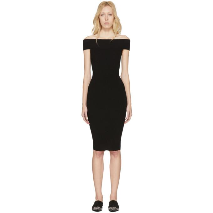 McQ Alexander McQueen Black Bandeau Off-the-Shoulder Dress-BLACKSKINNY.COM