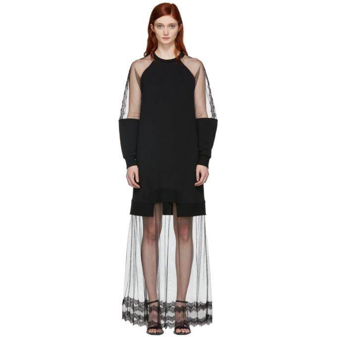 McQ Alexander McQueen Black Hybrid Long Dress-BLACKSKINNY.COM