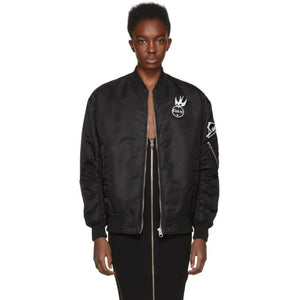 McQ Alexander McQueen Black Patches MA-1 Bomber Jacket-BlackSkinny