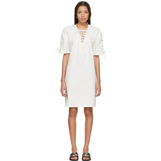 McQ Alexander McQueen Ivory Laced T-Shirt Dress-BLACKSKINNY.COM