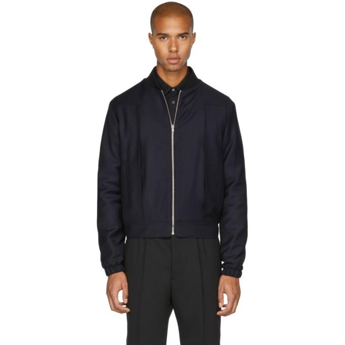 McQ Alexander McQueen Navy Pleat Bomber Jacket-BlackSkinny