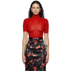 Meryll Rogge Red Wool Crepe Turtleneck
