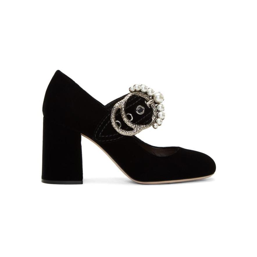 Miu Miu Black Velvet Mary Jane Heels-BLACKSKINNY.COM